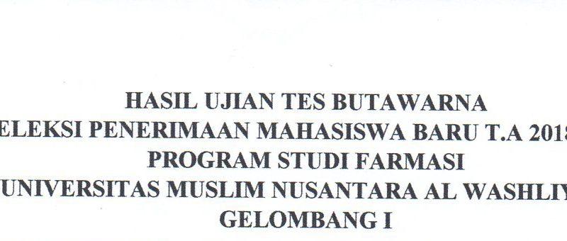 Pengumuman Hasil Seleksi Penerimaan Mahasiswa Baru (PMB) Prodi Farmasi Gelombang-1