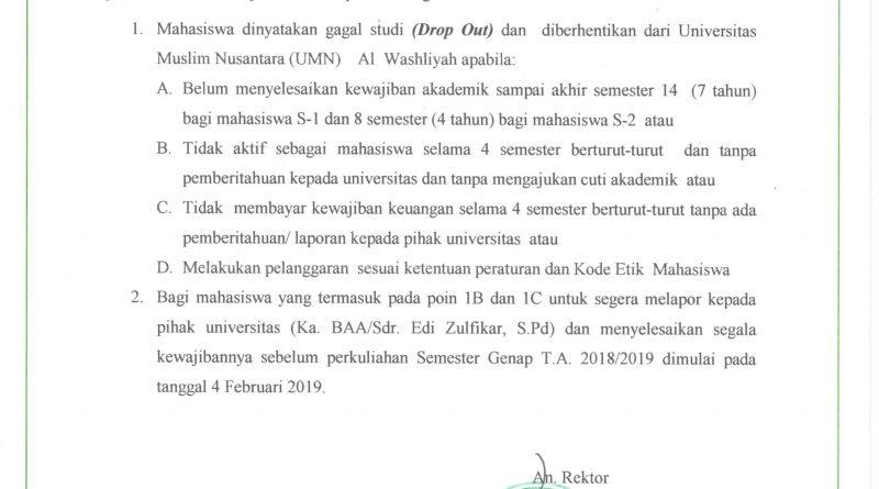 PENGUMUMAN UNTUK MENJADI PERHATIAN KEPADA SELURUH MAHASISWA