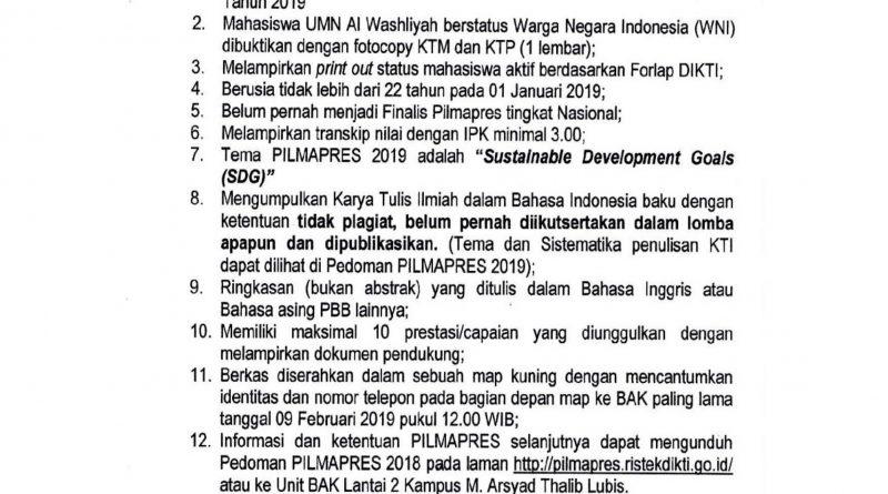 SELEKSI PEMILIHAN MAHASISWA  BERPRESTASI (PILMAPRES) 2019 UMN AL WASHLIYAH