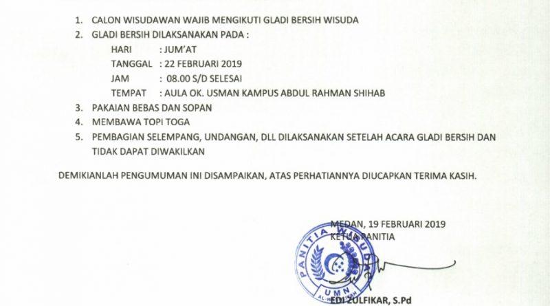 Pengumuman untuk Calon Wisudawan Februari 2019