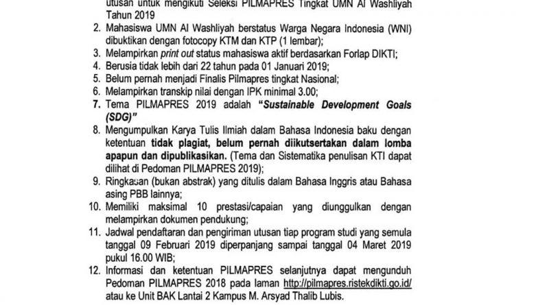 PILMAPRES UMN AL WASHLIYAH 2019