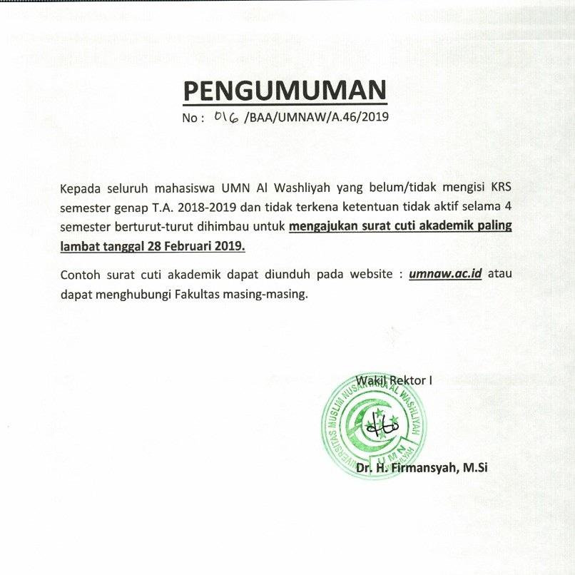 Mengajukan Surat Cuti Akademik Universitas Muslim