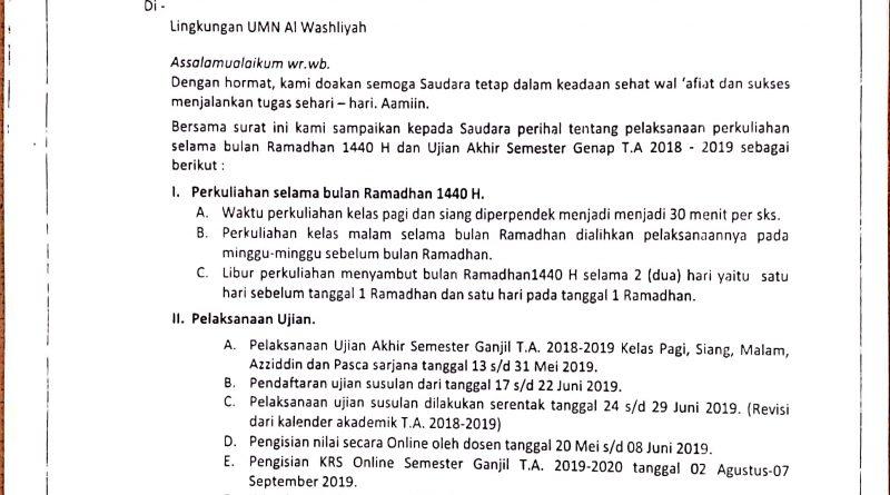Perkuliahan di Bulan Ramadhan dan Ujian Akhir Semester Genap T.A 2018-2019