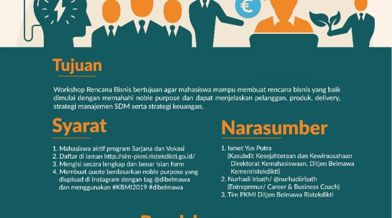 WORKSHOP BUSINESS PLAN KOMPETISI BISNIS MAHASISWA INDONESIA (KBMI) 2019