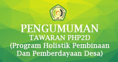 Pengumuman Tawaran PHP2D (Program Holistik Pembinaan Dan Pemberdayaan Desa)